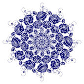 Decorative blue flower with vintage round patterns. — Stock Vector