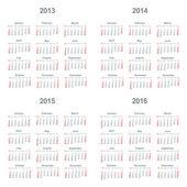 Calendar 2013, 2014, 2015, 2016 — Stock Vector