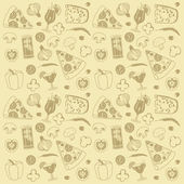 Pizza seamless pattern — Stok Vektör