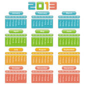 2013 Calendar. Vector Design — Stock Vector