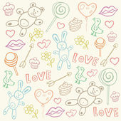 Seamless pattern with love doodles — Stock Vector