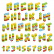 Alphabet set made of toy blocks isolated — Stock Vector