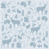 Card with Christmas deer — Vector de stock