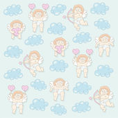 Cupid seamless pattern — Stock Vector
