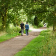 Stock Photo: Young couple walking their dog along country path