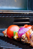 Chicken and pepper kebabs slowly cooking on the barbecue — Stock Photo