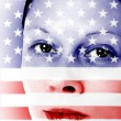 Pretty woman with american flag painted on face — Stock Photo