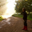 Sun through trees with boy on path — Stock Photo