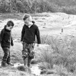 Two brothers splashing in puddles - Stock Photo