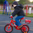 Boy riding his bike through a park — Stock Photo