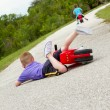 Little boy fallen off of his bike — Stock Photo
