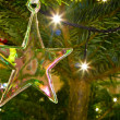 Stock Photo: Christmas star hanging on christmas tree
