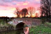 Rio que flui através de uma cena de campo inglês ao pôr do sol — Fotografia Stock