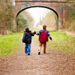 Brothers holding hands together on country path — Stock Photo #24436317