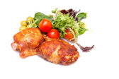 Barbecue chicken on white with soft shadows — Stock Photo