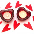 Heart shaped candles on a white background — Stock Photo