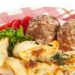 Stock Photo: Meatballs with potatoes
