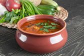 Bean soup and fresh ingredients for cooking — Stock Photo