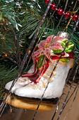 Christmas-tree decorations on a christmas fur-tree — Stock Photo
