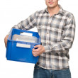 Smiling man with blue box — Stock Photo