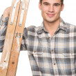 Man with ladder — Stock Photo