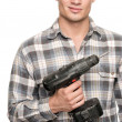 Man with drill machine — Stock Photo