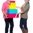 Senior couple with presents — Stock Photo #41917017