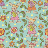 Easter pattern with bunnies and flowers — Stock Vector