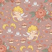 Cartoon pattern on Valentine's Day — ストックベクタ