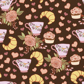 Chocolate pastry pattern — Stock Vector