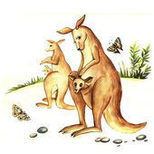 Watercolor mother kangaroo with kangaroo — Stock Photo