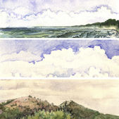 Akvarell landskap banners — Stockfoto