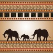 African ornament with a family of elephants — Stock Vector