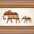 Ethnic pattern with elephants — Stock Vector