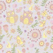Cute seamless with cartoon owls — Stockvektor #25929137