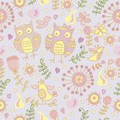 Cute seamless with cartoon owls — Stock Vector