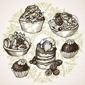 加上水果和奶油糖果的集 — 图库矢量图片