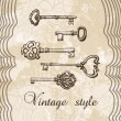 Vector illustration of vintage keys — Stock Vector