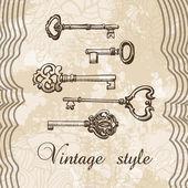 Vector illustration of vintage keys — Stock Vector