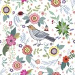 Beautiful vintage pattern with a bird and flowers — Stock Vector