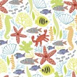 Cute pattern with the underwater world — ストックベクタ