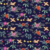 Patrón lindo vintage con pájaros y flores — Vector de stock