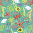 Vettoriale Stock : Cute seamless with the underwater world