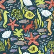 Decorative pattern with the underwater world — Stock vektor