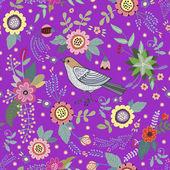 Patrón vintage brillante con un pájaro y flores — Vector de stock