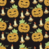 Black pattern with pumpkins for Halloween — Stock Vector