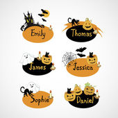 Name cards for Halloween party — Stock Vector