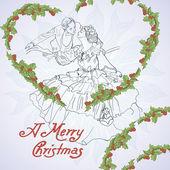 Weihnachtskarte im vintage-stil — Stockvektor