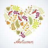 Tarjeta otoño linda con corazones y hojas — Vector de stock
