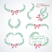 Vintage set with branches and bows — Stock Vector